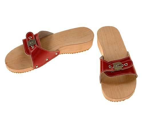 Wooden sandal red