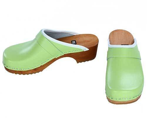 Wooden clogs mint green