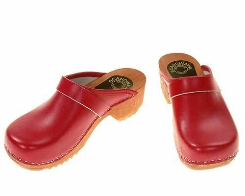 Wooden clogs red
