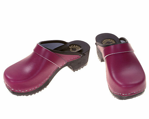 Wooden clogs purple