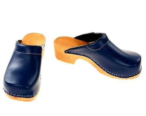 Wooden clogs blue with pad