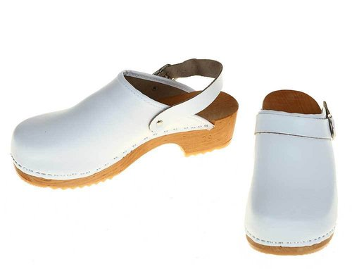 Wooden clogs white with turnable strap