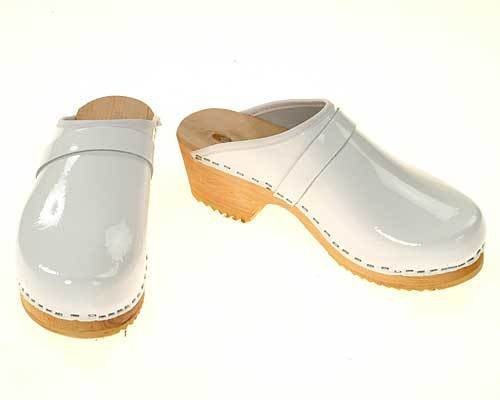 Single Pair - Patent leather Clogs white, size 35