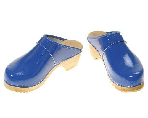 Single Pair - Patent leather Clogs royal, size 35