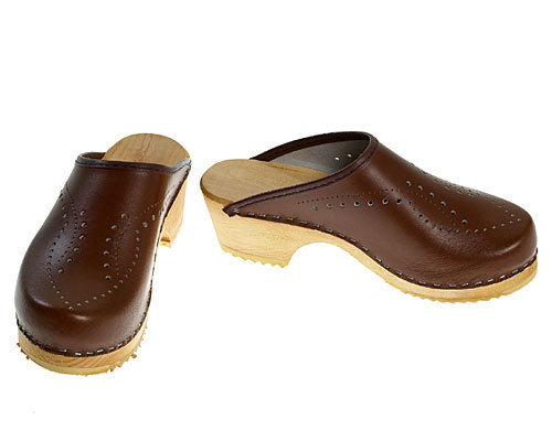 Single Pair - Perforated Clogs brown, size 36