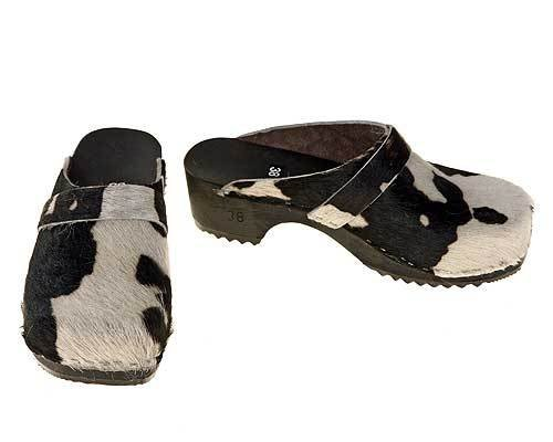 Cowhide Clogs black-white