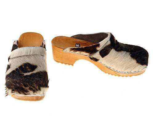 Cowhide Clogs brown-white