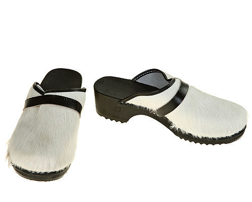 Classic Cow fur  Clogs uni-colored white / black sole