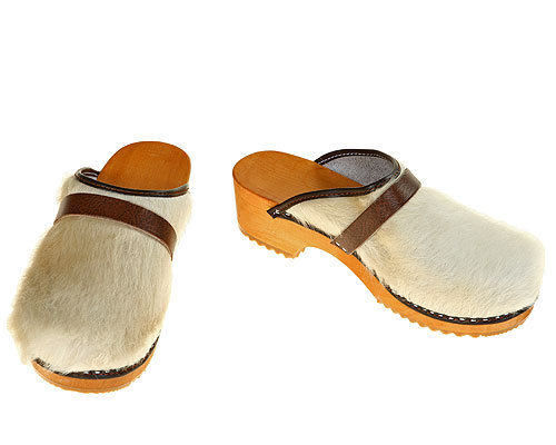 Classic Cow fur Clogs uni-colored white / bright sole