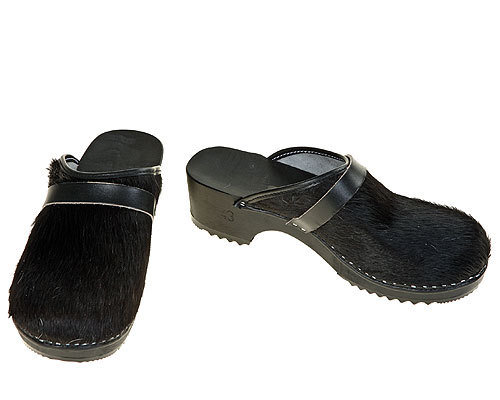 Classic Cow fur Clogs uni-colored black