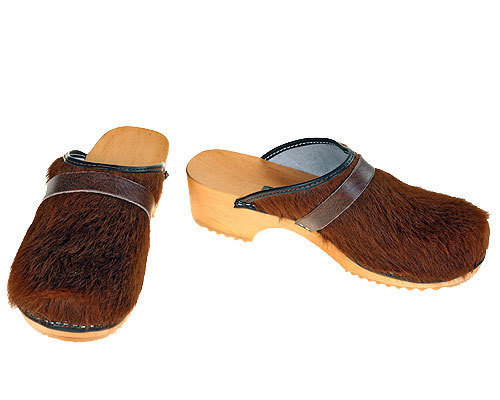Classic Cow fur Clogs uni-colored brown
