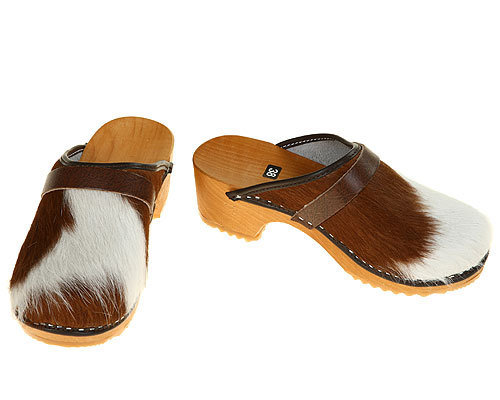 Classic Cow fur Clogs brown-white
