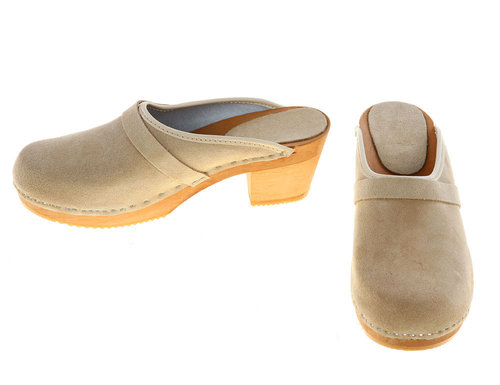 Suede high heel Clogs beige