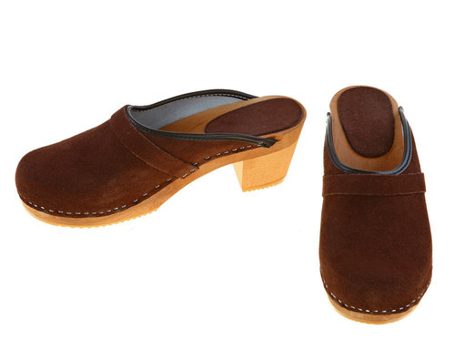Suede high heel Clogs brown