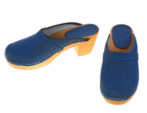 Suede high heel Clogs blue