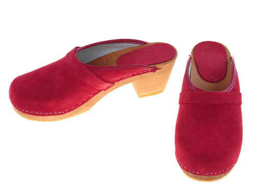 Suede high heel Clogs red
