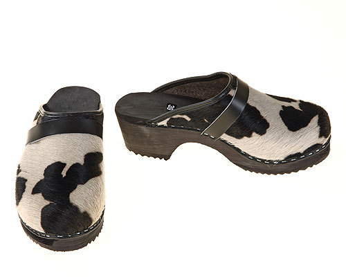 Single Pair - Cowhide Clogs black-white, size 47