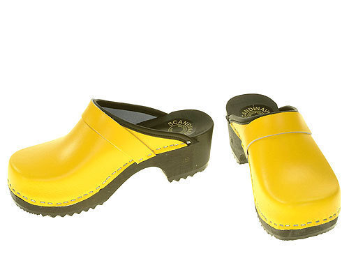 Wooden clogs yellow
