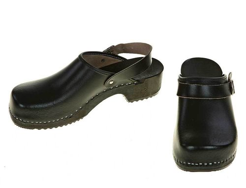 Wooden clogs black with turnable strap