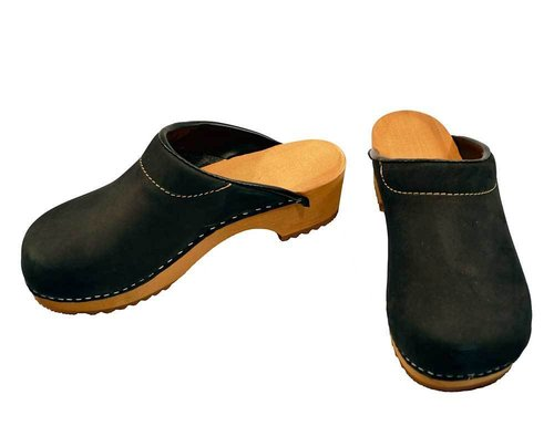Nubuk leather Clogs black
